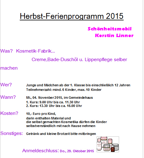 herbst ferienprogramm 2015 mit dem sch nheitsmobil linner kerstin oberneukirchen w. Black Bedroom Furniture Sets. Home Design Ideas